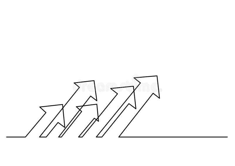 Dibujo lineal continuo de flechas múltiples libre illustration