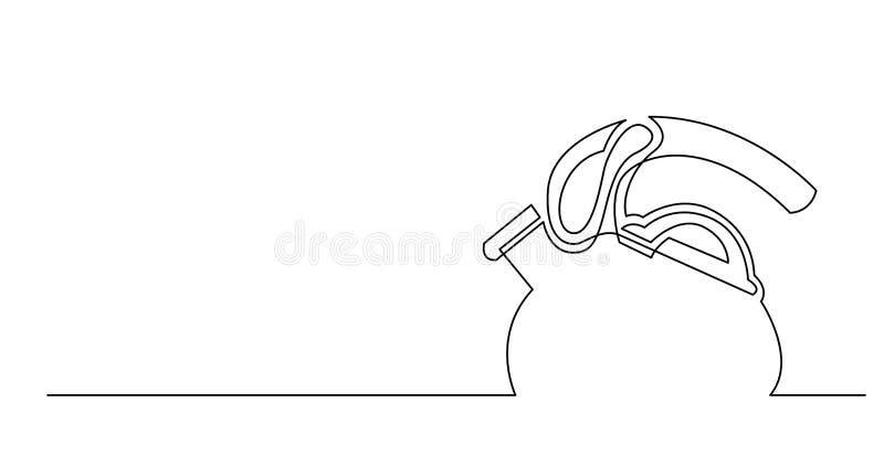 Dibujo lineal continuo de la caldera de té moderna stock de ilustración