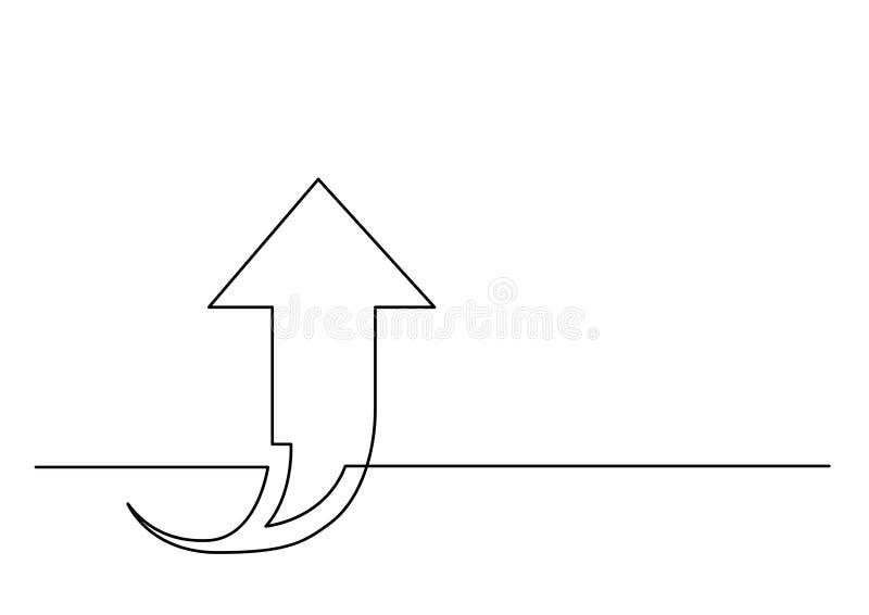 Dibujo lineal continuo de la flecha que sube libre illustration
