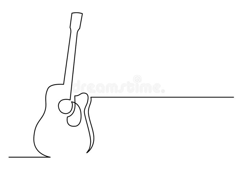 Dibujo lineal continuo de la guitarra acústica ilustración del vector