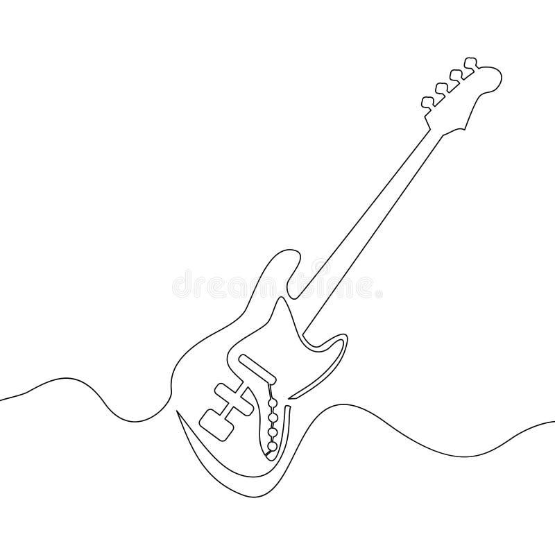 Dibujo lineal continuo de la guitarra eléctrica ilustración del vector