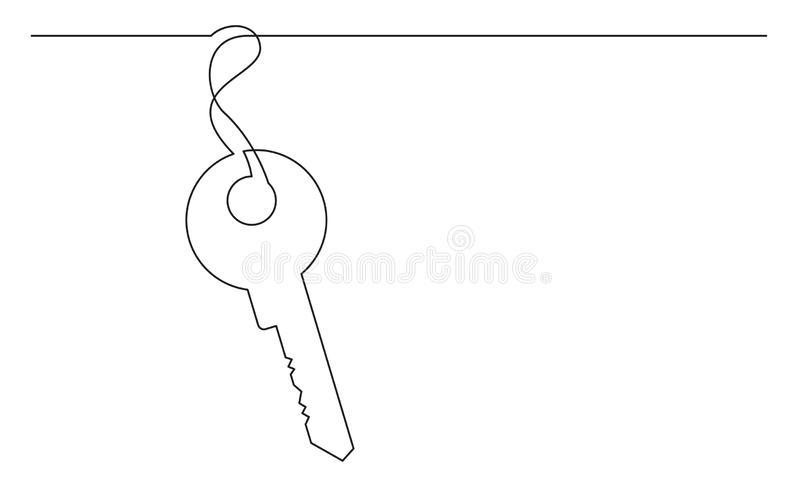 Dibujo lineal continuo de la llave libre illustration