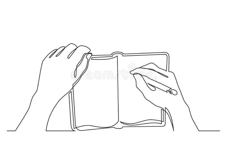 Dibujo lineal continuo de la mano que escribe notas en libro de trabajo stock de ilustración