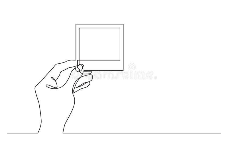 Dibujo lineal continuo de la mano que lleva a cabo el marco del papel ilustración del vector