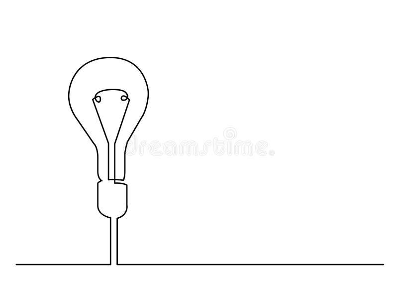 Dibujo lineal continuo de la metáfora de la bombilla o de la idea libre illustration