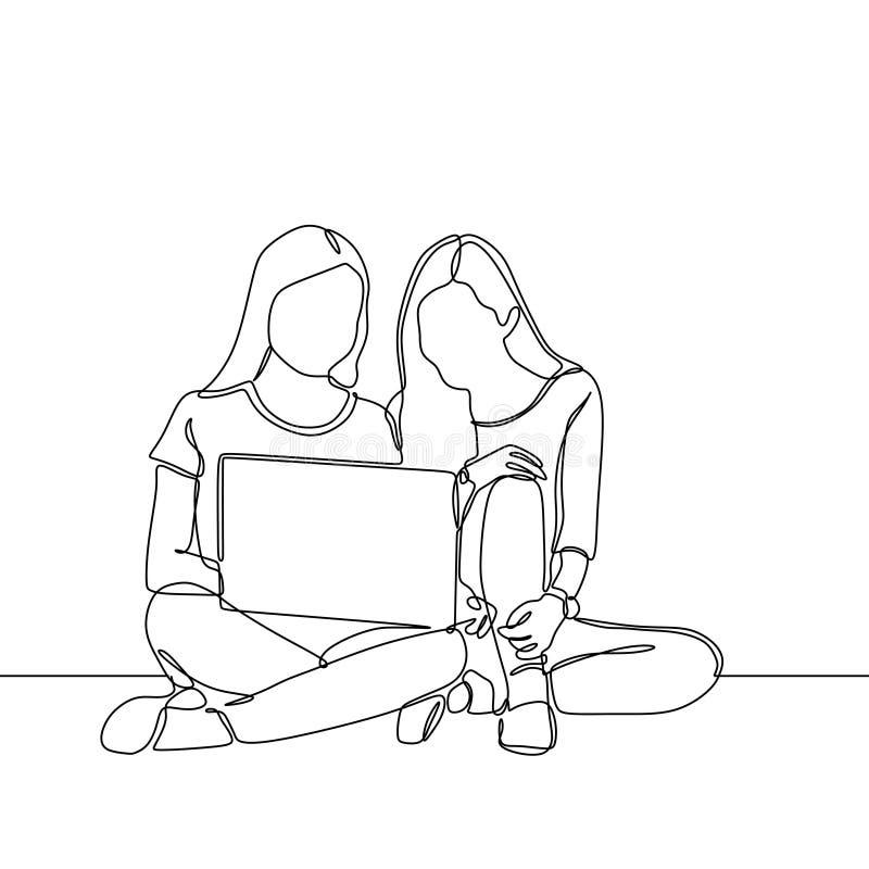 Dibujo lineal continuo de la muchacha dos con el concepto exhausto de la mano minimalista del diseño uno del ordenador portátil d ilustración del vector