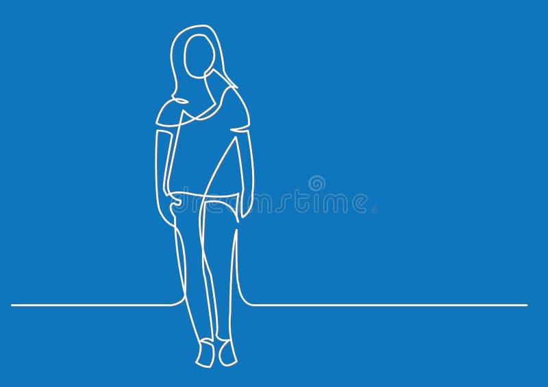 Dibujo lineal continuo de la mujer derecha ilustración del vector