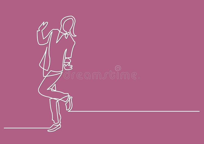 Dibujo lineal continuo de la mujer feliz ilustración del vector