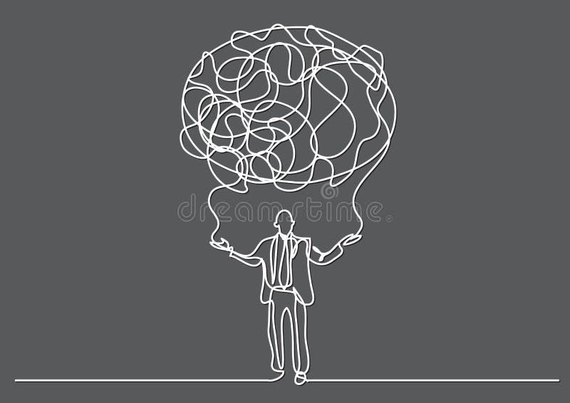 Dibujo lineal continuo de la persona del negocio que crea la nube de sentidos stock de ilustración