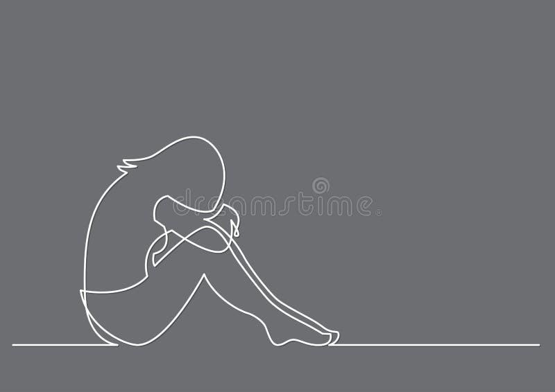 Dibujo lineal continuo de la sentada deprimida de la mujer ilustración del vector