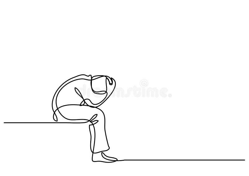 Dibujo lineal continuo de la sentada deprimida del hombre ilustración del vector