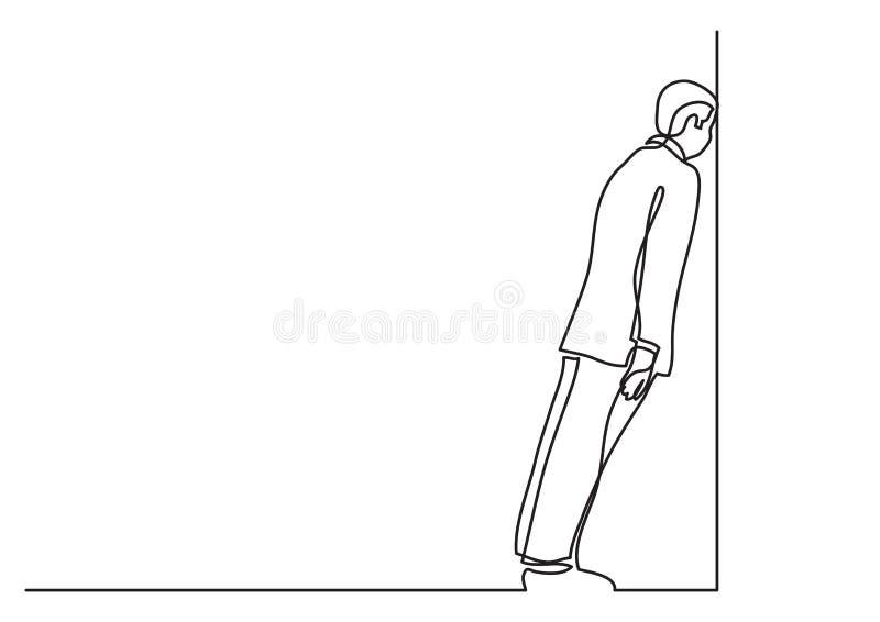 Dibujo lineal continuo de la situación de negocio - hombre pegado en trabajo del callejón sin salida libre illustration