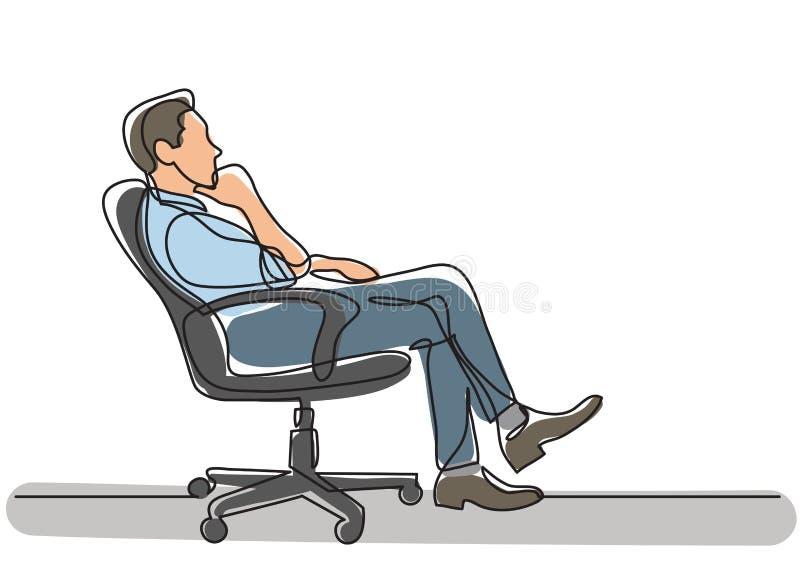 Dibujo lineal continuo de la situación de negocio - hombre que se sienta en el pensamiento de la silla de la oficina stock de ilustración