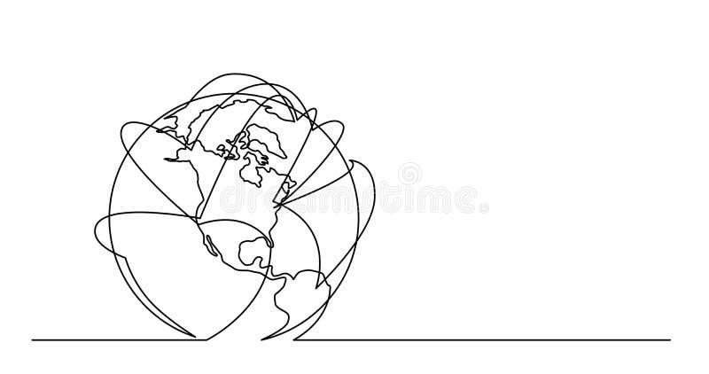 Dibujo lineal continuo de la tierra del planeta del mundo con vuelos de las líneas aéreas libre illustration
