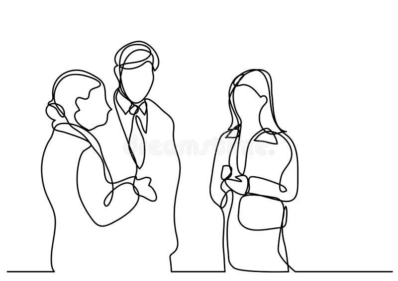 Dibujo lineal continuo de los hombres de negocios el hablar stock de ilustración