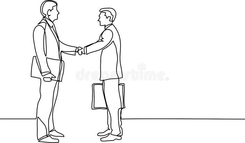Dibujo lineal continuo de los hombres de negocios que hacen frente al apretón de manos stock de ilustración