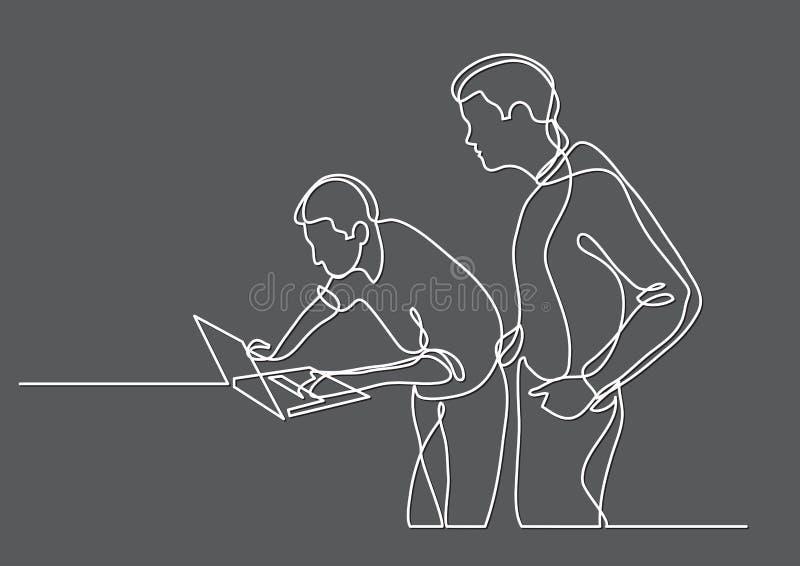 Dibujo lineal continuo de los programadores que trabajan junto libre illustration