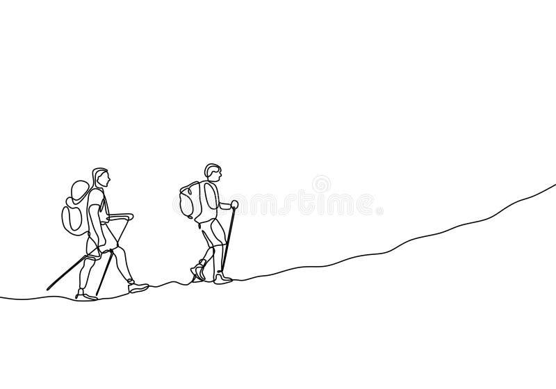 Dibujo lineal continuo de los viajeros que caminan y que suben de las personas del grupo dos de la aventura stock de ilustración