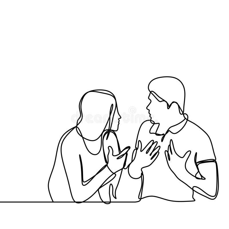 Dibujo lineal continuo de pares en conflicto El hombre y las mujeres que se hablaban con el ejemplo enojado del vector del gesto  libre illustration