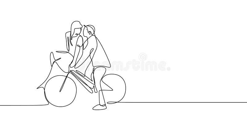 Dibujo lineal continuo de pares románticos lindos en el ejemplo del vector de la bicicleta del montar a caballo del amor stock de ilustración
