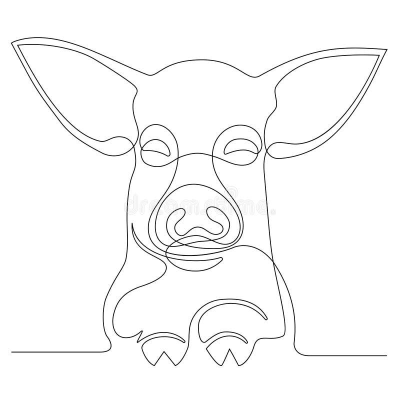 Dibujo lineal continuo de un cerdo de la cara ilustración del vector