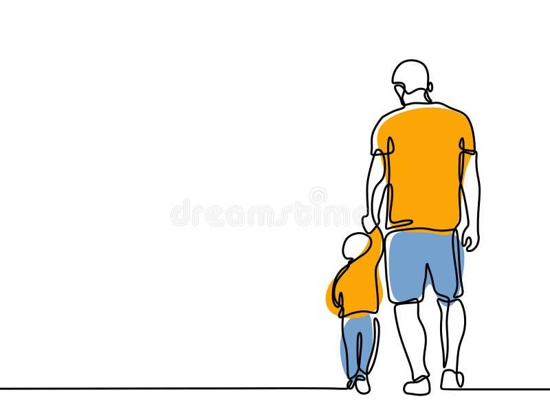 Dibujo lineal continuo de un concepto precioso Father' del padre y de familia de los ni?os; momento de la felicidad de la tar libre illustration