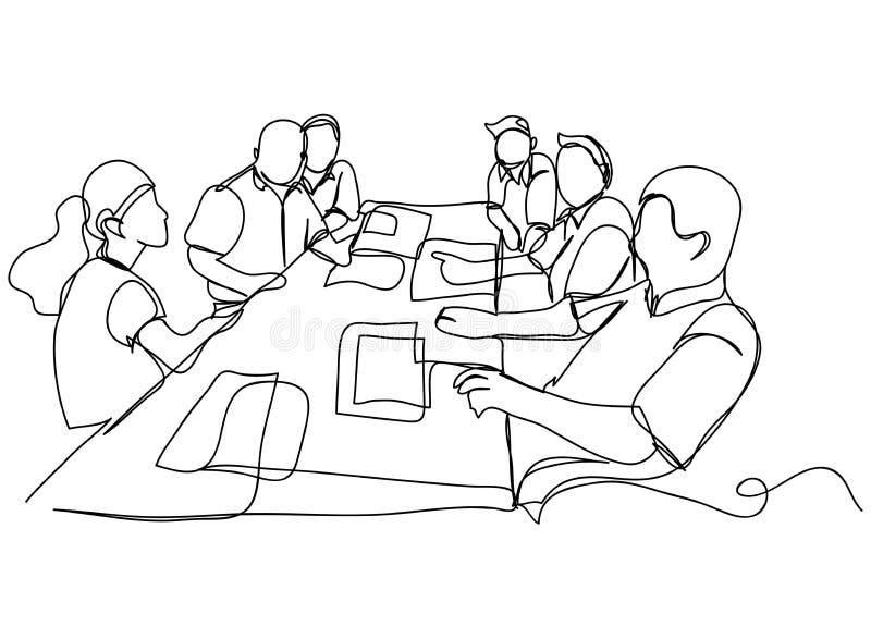 Dibujo lineal continuo de un grupo de amigos que disfrutan de una línea ejemplo del vector del baile imagen de archivo libre de regalías