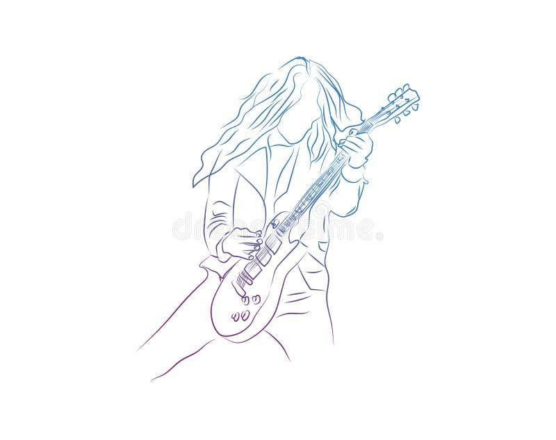 Dibujo lineal continuo de un hombre que juega el ejemplo del vector del músico de la guitarra libre illustration