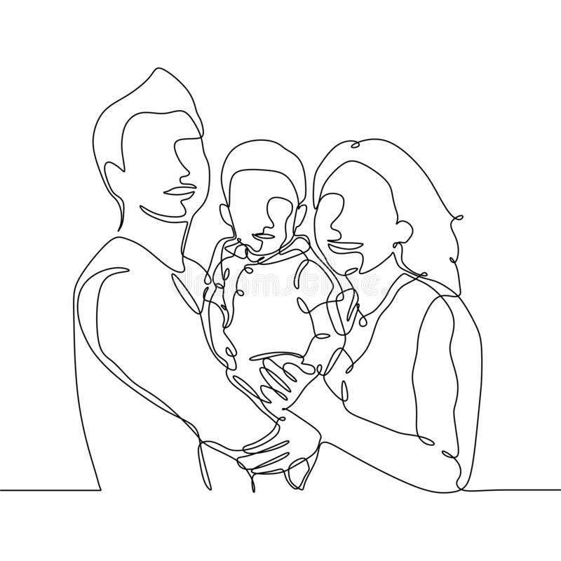 Dibujo lineal continuo de un miembro de la familia Papá, mamá, y su niño stock de ilustración