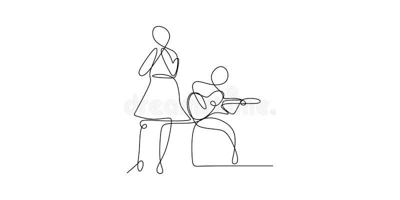dibujo lineal continuo de una persona que juega la guitarra acústica y a la chica joven que cantan concepto de diseño minimalista libre illustration