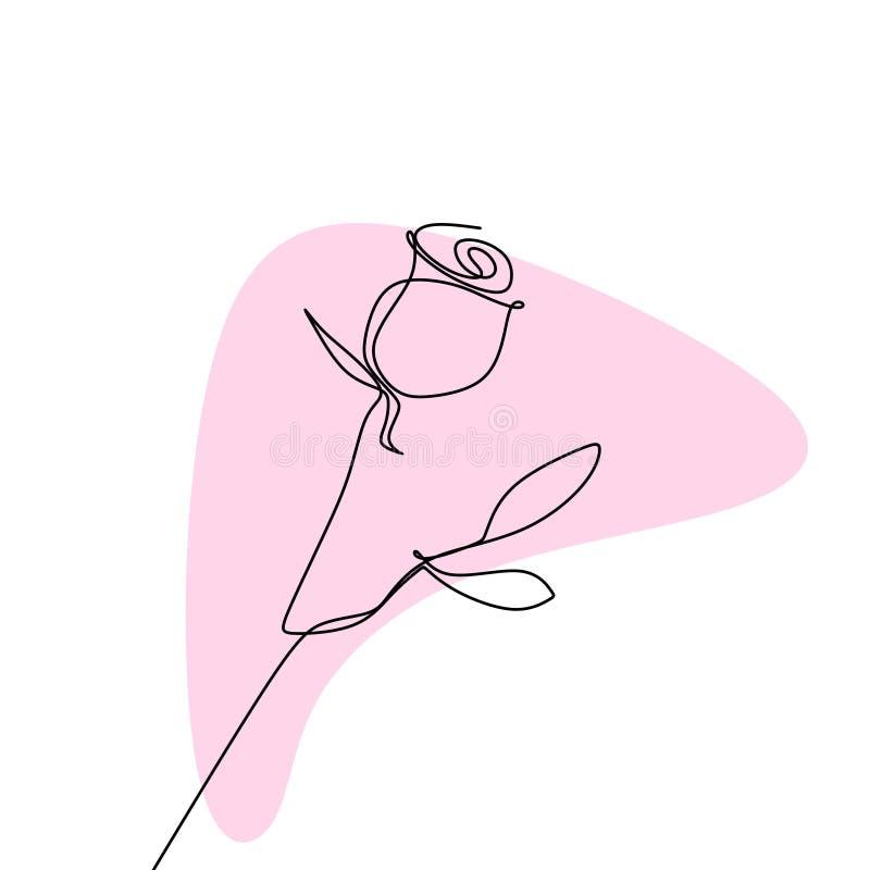dibujo lineal continuo de una rosa libre illustration