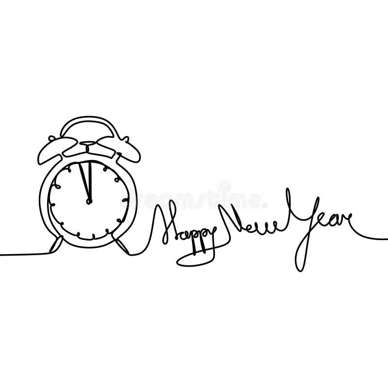 Dibujo lineal continuo del Año Nuevo con el reloj y el ejemplo del vector de la tipografía stock de ilustración