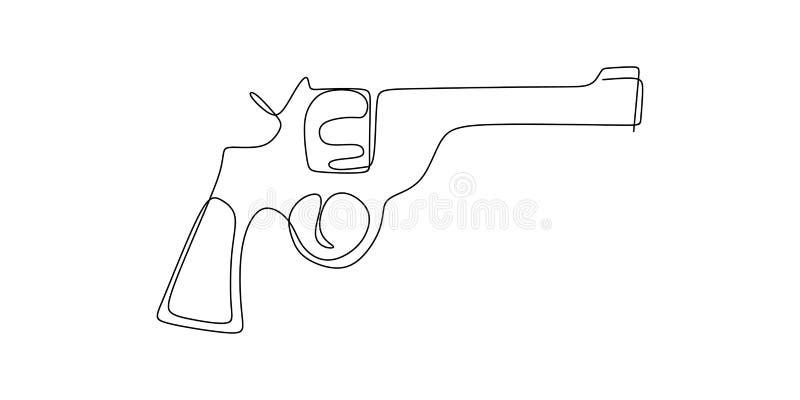 dibujo lineal continuo del arma stock de ilustración