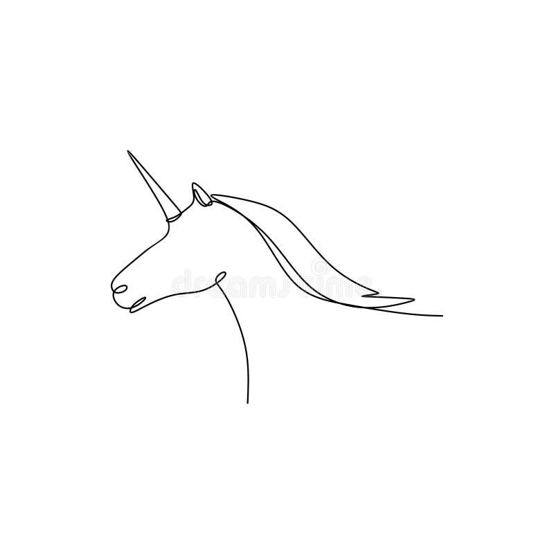 dibujo lineal continuo del caballo del unicornio stock de ilustración