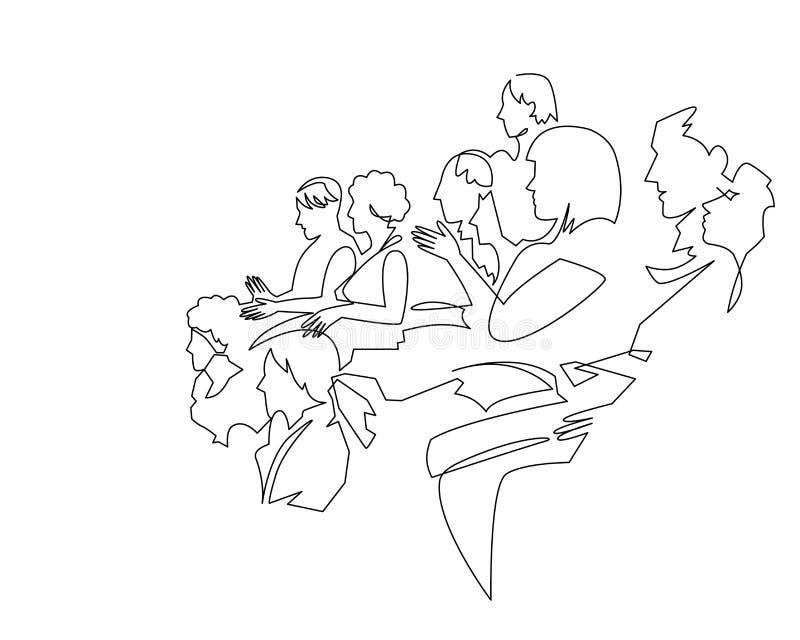 Dibujo lineal continuo del carácter del ejemplo del vector de la audiencia en la sala de conferencias stock de ilustración