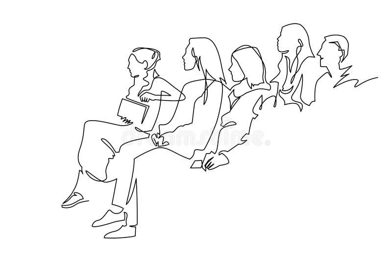 Dibujo lineal continuo del carácter del ejemplo del vector de la audiencia en la sala de conferencias libre illustration