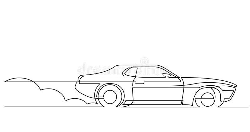 Dibujo lineal continuo del coche deportivo retro que conduce rápidamente ilustración del vector