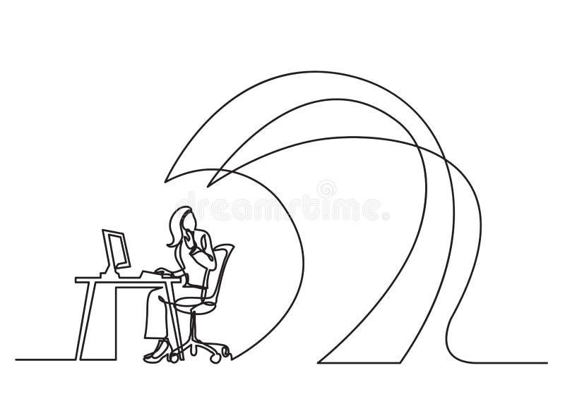 Dibujo lineal continuo del concepto del negocio - oficinista debajo de ondas del trabajo stock de ilustración
