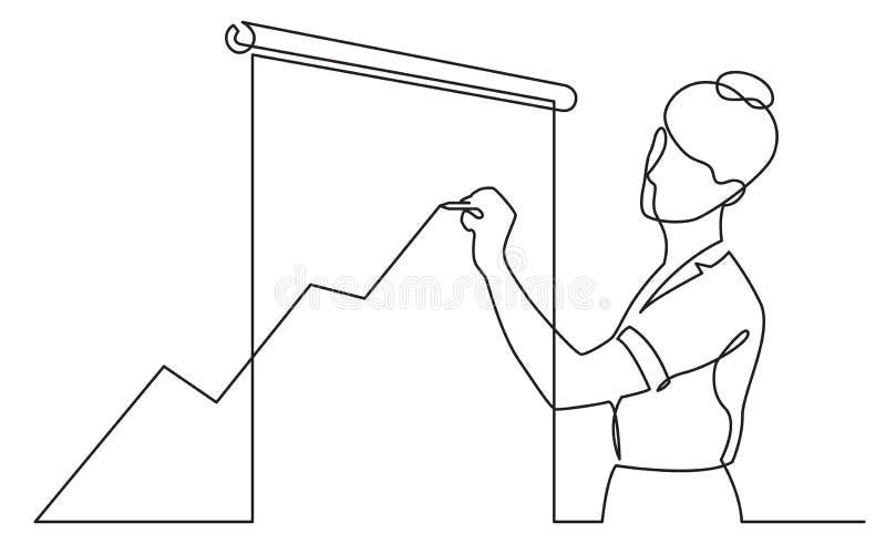 Dibujo lineal continuo del diagrama cada vez mayor de dibujo del presentador stock de ilustración