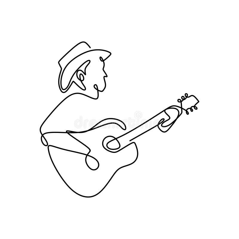Dibujo lineal continuo del ejecutante del jugador del instrumento de m?sica cl?sica de la guitarra del jazz un stock de ilustración