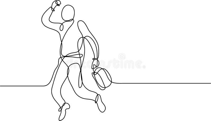 Dibujo lineal continuo del hombre de negocios feliz stock de ilustración