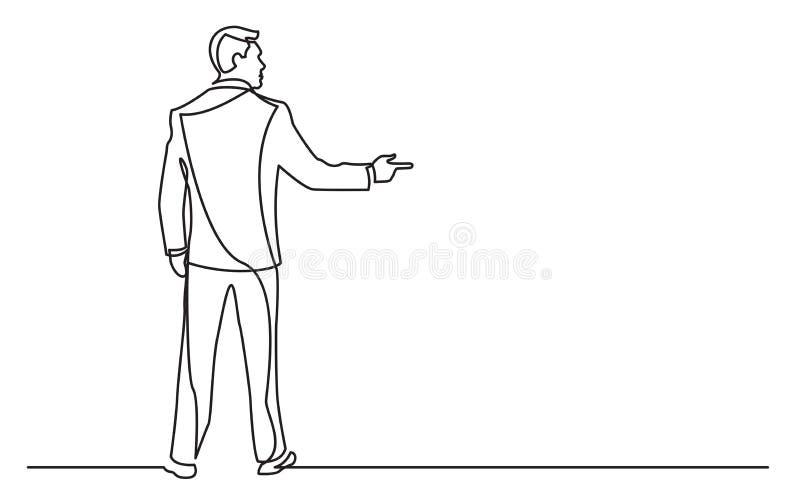 Dibujo lineal continuo del hombre de negocios permanente que señala el finger stock de ilustración