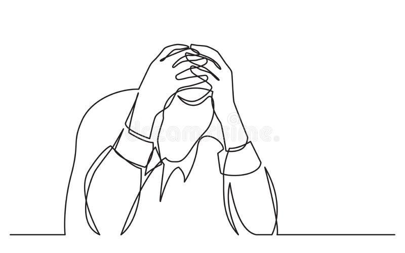 Dibujo lineal continuo del hombre en la depresión stock de ilustración