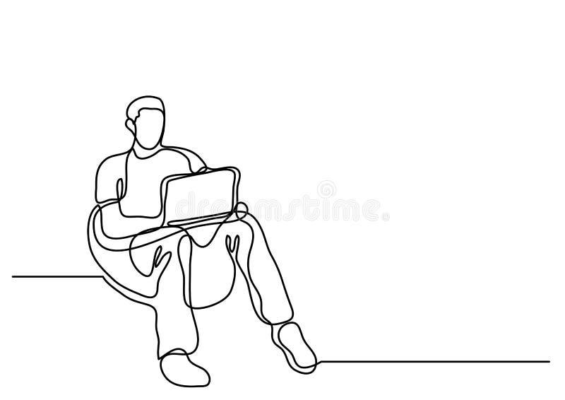 Dibujo lineal continuo del hombre que se sienta en puf con el ordenador portátil c ilustración del vector