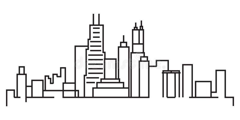 Dibujo lineal continuo del horizonte moderno de la ciudad ilustración del vector