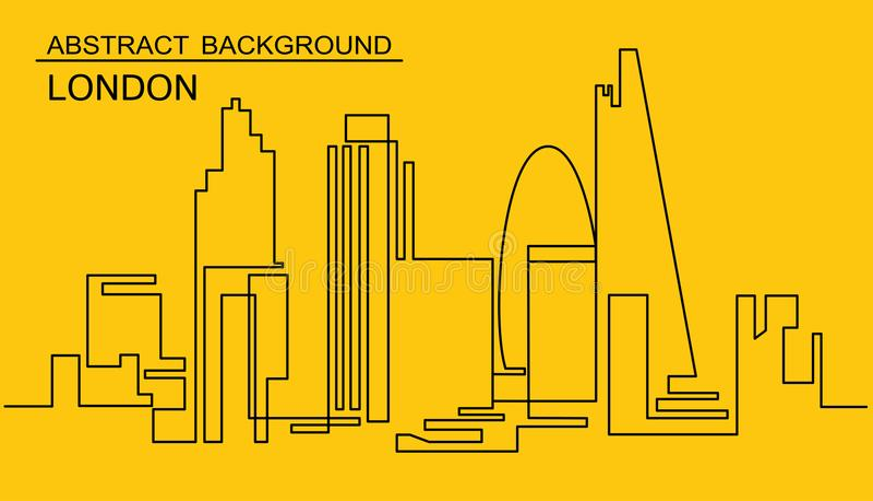 Dibujo lineal continuo del horizonte del vector Una línea paisaje urbano de Londres del estilo Metrópoli minimalistic moderna sim libre illustration