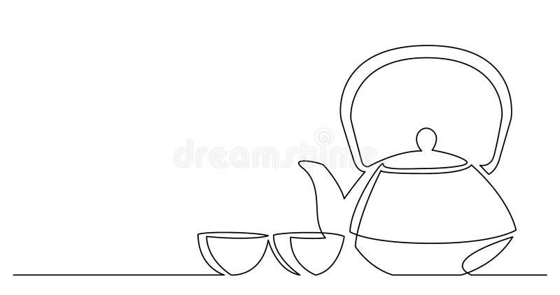 Dibujo lineal continuo del pote oriental del té del estilo con las tazas libre illustration