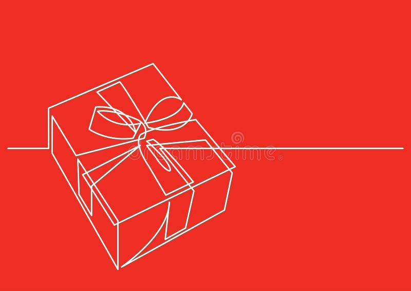 Dibujo lineal continuo del regalo de Navidad stock de ilustración
