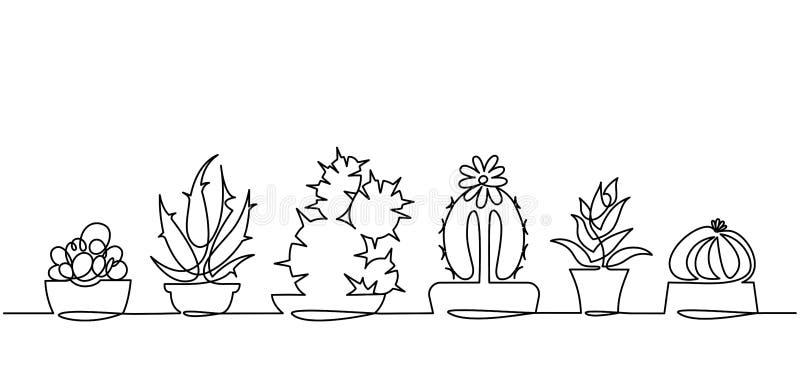 Dibujo lineal continuo del sistema del vector de plantas blancos y negros de la casa del bosquejo del cactus lindo aisladas en el ilustración del vector