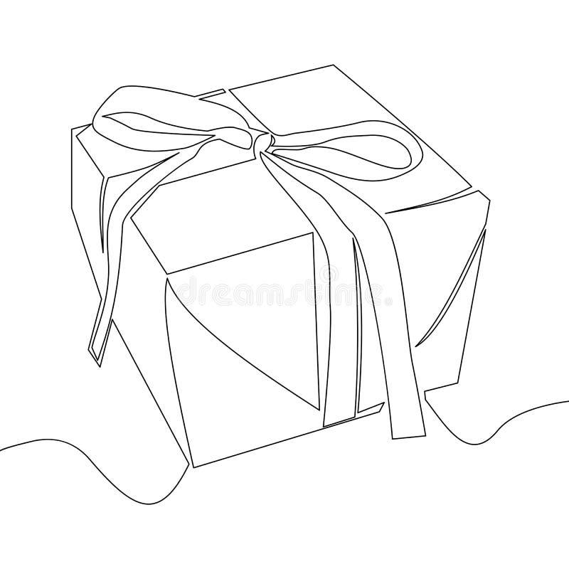 Dibujo lineal continuo del vector de la caja de regalo ilustración del vector